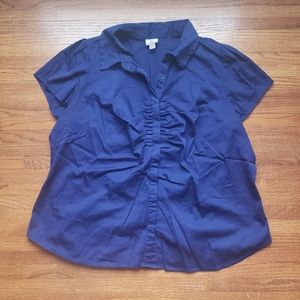 Worthington   S/S Gathered Button Front Top   3X